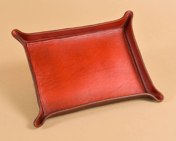 Red Leather Catchall Tray - Pocket Tray - Leather Valet - Full Grain Leather Tray
