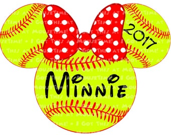 IRON-ON Softball Minnie Ears! - Mouse Ears Tshirt Transfer / Decal