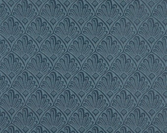 Dark Blue Two Toned Fan Upholstery Fabric By The Yard | Pattern # A127