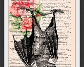 Hanging Bat with Red Roses - Vintage Dictionary Book Page Art Print Beautiful Upcycled Page Art Bat Print