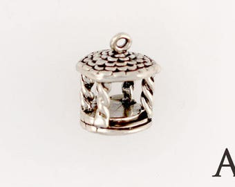 Sterling Silver 3-D Gazebo Charm, Choice of Adapter or Necklace