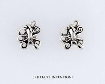 925 Sterling Silver Octopus Design Post or Stud Earrings, Sea Life & Fine Jewelry - BI-2607