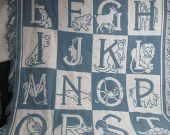 """ABCs wallhanging cotton tapestry for child's room 44"""" x28"""" in blue and white"""