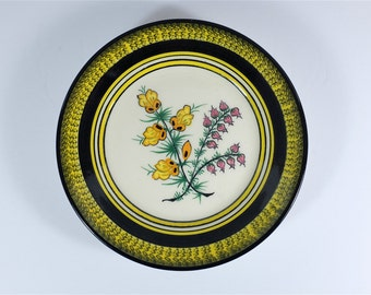 19th Century HB Quimper Flowers Motif Faience Plate - Antique French faience plate from Quimper Bretagne France - Hand painted Faience plate