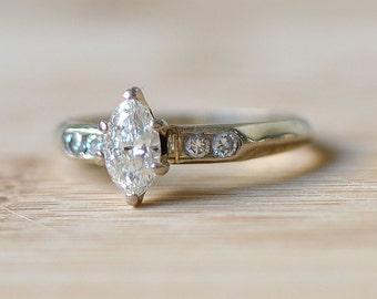 0.50 Carat Center Diamond Ring - Marquise Diamond Engagement Ring - Vintage Engagement Ring - 1940s Engagement Ring - Vintage Diamond Ring
