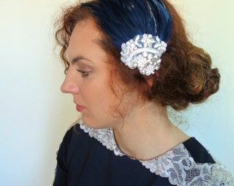 1920s Headpiece Vintage Feather Fascinator  Navy Blue  Lace Feather Headband  Prom Headpiece Wedding Headpiece  - STELLA