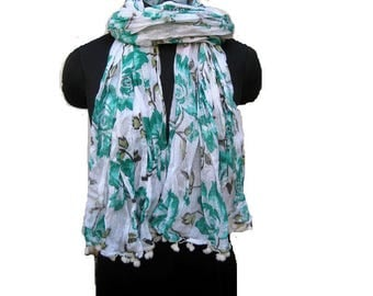 Floral print scarf/ cotton scarf/ lace scarf/ gift  scarf / white and blue scarf/ /  gift ideas.