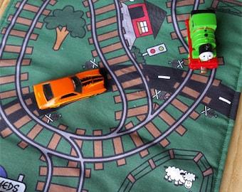 Train Play Mat - Orange/Blue Chevrons/Blue Speckled Pockets