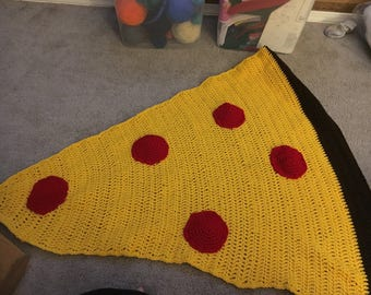 Childs size pizza throw, pizza blanket, crochet pizza, snuggle pizza blanket, pepperoni pizza goodness, cheesy goodness