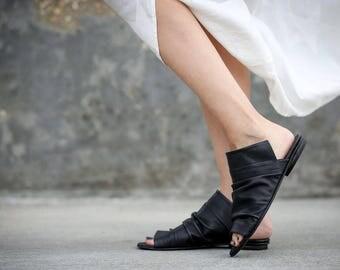 New! Leather Sandals, Black Sandals, Handmade Sandals, Flat Summer Shoes, Slide Sandals, Black Greek Sandals, Romy