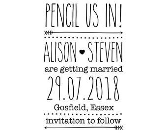 "Pencil Us In Stamp, custom wedding stamp, invitations stamp, card stamp, tags stamp, diy bride stamp, wedding invite, 2.2""x3.2"" (cstd89)"