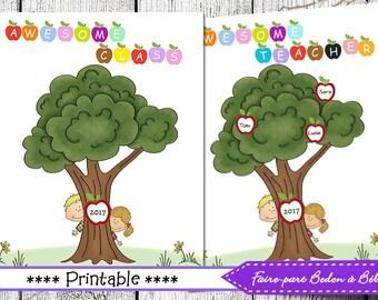 Fingerprint tree Awesome Teacher/ Awesome Class - 8x10 - Digital printable