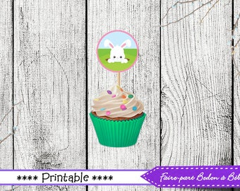 Easter Cupcake Topper - Easter Party Printable - EasterToppers DIY - INSTANT DOWNLOAD Printable - Easter