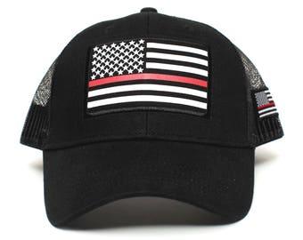 Thin RED Line USA flag Posse Comitatus Unisex Adult One-Size Cap Hat Black