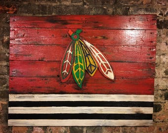 Chicago Blackhawks, City of Chicago, Blackhawks, Chicago, Vintage Sign, Vintage Chicago, Chicago Sign, wooden signs, Chitown, hockey