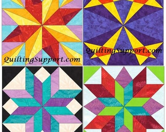 15 Inch Star Block Set of 4 Paper Piece Template Quilting Block Patterns Set 1 PDF