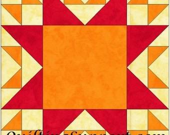 Odd Fellows Variation Chain Star 10 Inch Paper Piece Foundation Quilting Block Pattern PDF
