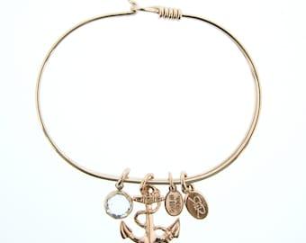Rose Gold Anchor Bracelet with Swarovski Crystal