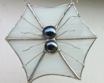 Stained Glass Spider Web With Glass Nugget and Wire Spider
