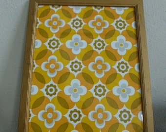 large gilt wood frame and glass pane with vintage wallpaper design roses 1970