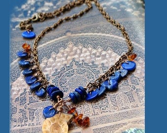 Breastplate in lapis Lazuli and fossil Ammonite pendant necklace chain vintage brass copper