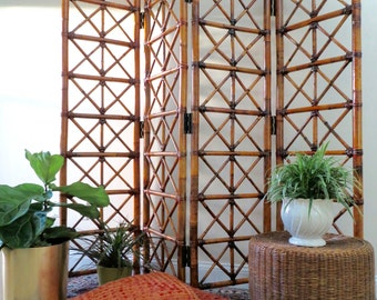 Vintage Bamboo Room Divider - Four Panel Folding Screen Divider