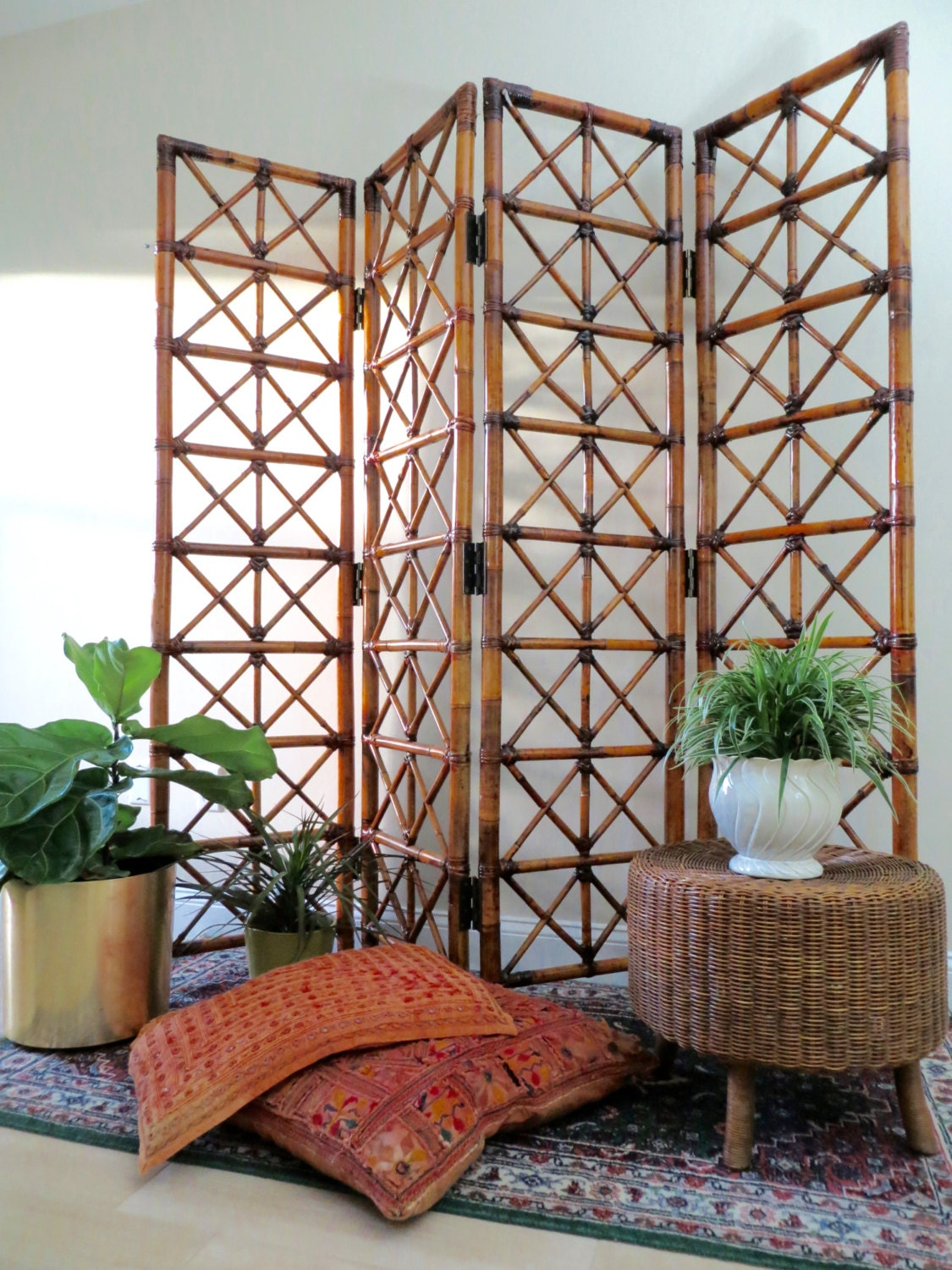 Vintage bamboo room divider four panel folding screen for Four panel room divider screen