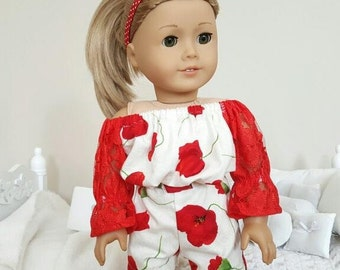 18 inch doll floral romper