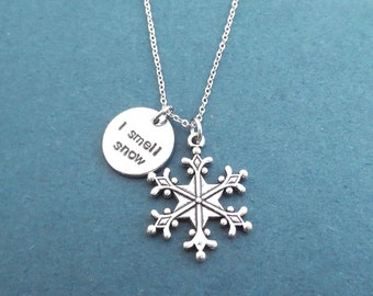 I smell snow, Snowflake, Silver, Necklace, Gilmore, Lorelai, Necklace, Birthday, Best friends, Sister, Christmas, New year, Gift, Jewelry