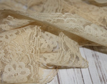 Cream Floral Lace, Craft Supply, Sewing Notion, Fashion, Vintage, Retro, Lace Trim, Ivory, Tan