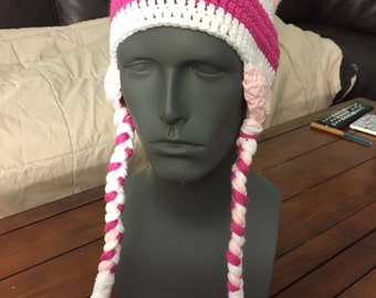 Pink crochet hat with braids