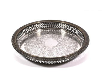 """Silver Gallery Tray by Rogers, 10"""" Vintage Round Serving Tray with Pierced Rim & Engraved Design"""