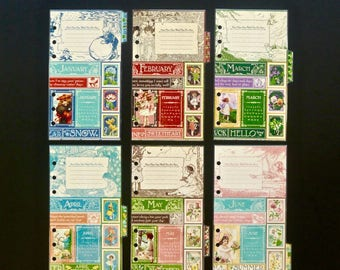 """Laminated monthly dividers - Jan to Dec - Personal size - """"Happy days"""""""