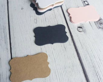 100 x Paper tags or place cards - gift tags, earring cards, weddings pink , white, navy and manilla