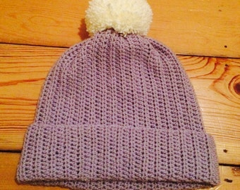 Handcrafted Crochet ribbed hat with giant pom pom