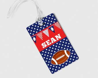 Football Boys Bag Tag - Red White Blue Personalized Name Tag
