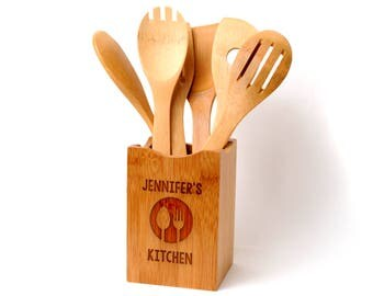 Personalized Kitchen Decor - Bamboo Wood Utensil Holder