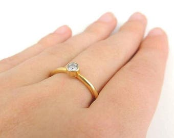 Zircon ring, thin gold ring, Stacking ring gold plated, delicate jewelry
