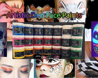 6 x 250ml Face Paints Face & Body Paints    Non Toxic Water Based