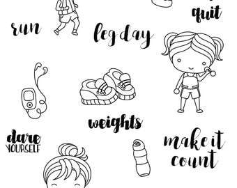 Workout clear stamp set - decorative planner stamps suitable for any planner