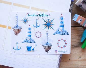 Nautical and lighthouses - decorative watercolour planner stickers suitable for any planner -307-