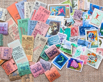 Original vintage bus ticket & worldwide used stamp lot - perfect for Travelers Notebook journaling and scrapbooking -BSL-