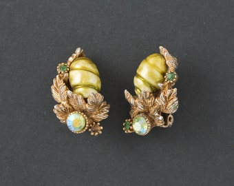 Vintage HAR  Earrings  Green  Pearl and AB Rhinestone