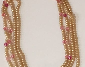 Vintage Pearl and Crystal Necklace