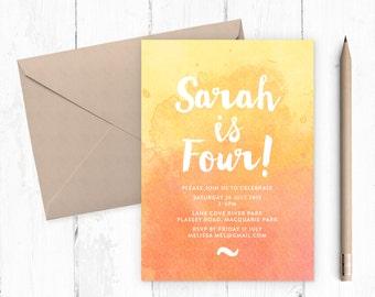 Girl's birthday watercolour invitation / Girls birthday invitation / Kids birthday invite / Yellow invitation / Printable invitations