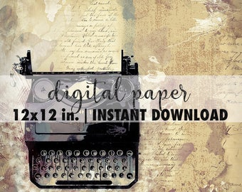 12x12 digital paper, premade scrapbook pages, 12x12 art print, scrapbook vintage paper, scrapbook background download, old typewriter
