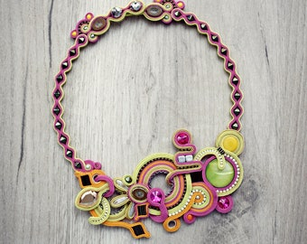 Hand embroidered, colourful soutache necklace. OOAK statement necklace. Soutache necklace. Soutache jewelry. Colorful necklace. Gift for her