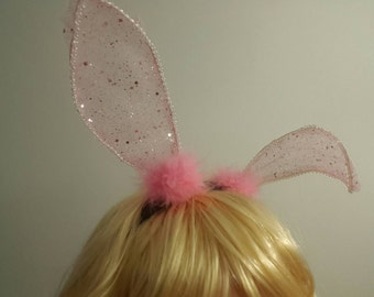 Pink Bunny Ears Headband, Lace Ears, Rabbit Ears, Cosplay Animal Ears