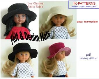 13 inch doll clothes pdf patterns felt denim HAT for Corolle Les Cheries Paola Reina poupee chapeau patron easy to sew download print pdf