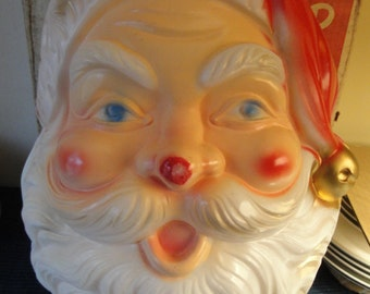 Vintage Beco Original No. 951, 1960's Jolly Santa Head Plastic ILLuminated Face, Works Great